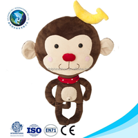 Brown fashion cheap plush toy monkey with banana cute stuffed soft magnet plush monkey