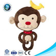 Brown fashion cheap plush toy monkey with banana cute stuffed soft magnet plush monkey