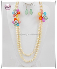 Rhodiumized / Cream Acrylic Pearls / Clear Accents / Lead Compliant / Flower Theme / Long Multi Row Necklace & Fish Hook Earring