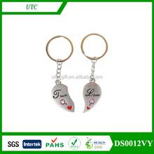 Gift Hand Stamped Broken heart Keychain Set Couple Key Chain