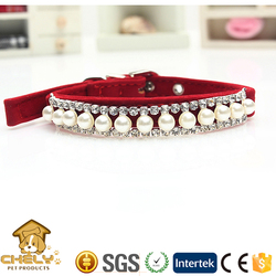 Stylish Pearl Collars For Dogs Flocking Cloth Popular in Western Market