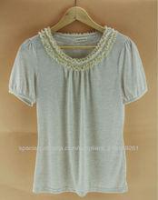 2013 del cordón de la venta caliente decorar blusa de manga corta para las mujeres