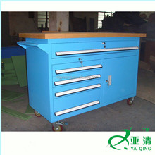 blue one door 5 drawers metal rolled outdoor shorage tool trolley & tool cabinet with wooden top