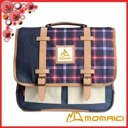 denim with tartan plaid pu leahter top quality brand fashion backpack school bag for teens