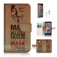 Hot selling Wholesale China V Vendetta Mask Print Flip Wallet Cover Skin Case for Nokia Lumia 930 Leather Case