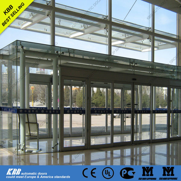 Automatic aluminum frame sliding door security glass