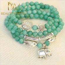 natural de jade verde menta relación de cuentas pulsera de la joyería