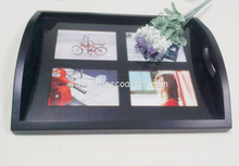 high quality wooden photo serving tray with plastic top or glass top