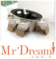 MR DREAM Flower dining table and chairs/outdoor wicker dining set