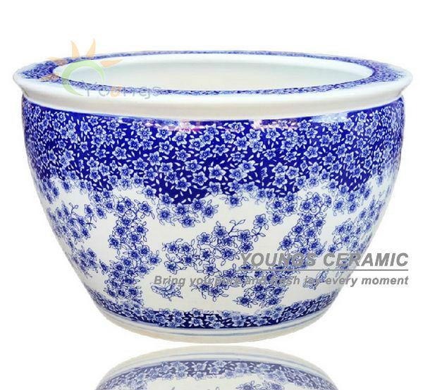 Tama o grande de china azul y blanco de cer mica del rbol for Jardineras de ceramica