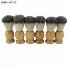 6 pezzi goood qualità manico in legno da barba uomini spazzola per capelli sintetici