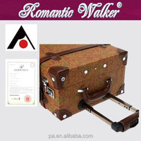 Best new fashion Cartoon style 4 wheels Vintage Classic PU Leather Travel luggage bag