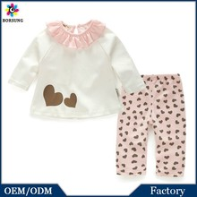 2 pcs High Quality 100%Cotton Baby/Girls Bedroom Sets Long Sleeve Loving Heart Printed Girls Frock Suits