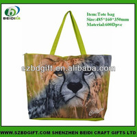Fashion Customized Print Tiger Reusable Polyester Tote Shopping bag