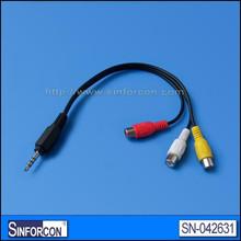 White color, 3.5mm audio jack male spliter cable. 3.5mm audio jack male - 2*3.5mm audio jack female