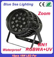 Stage wash dmx 18x10w rgbw rgbaw rgbwa uv waterproof zoom led par light