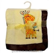Baby Embroidered coral fleece blanket plush fleece animal blanket