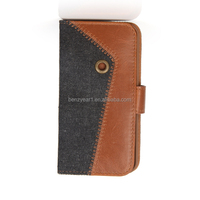 Top Design Custom PU and canvas mobile phone case fit for Iphone 5 or 5s