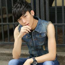 Wholesale OEM Bulk Factory Manale seasons denim vest Korea retro flash Slim sleeveless denim vest waistcoat vest jacket Man181