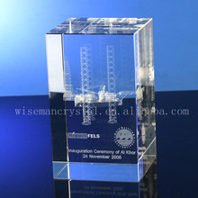 3d Laser Engraving Glass Crystal Block for Souvenir of Qatar
