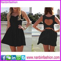 wholesale black backless nice design casual dress