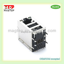 LAN-on-Motherboard Dual USB Combo RJ45 Connector for netbook laptop