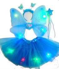 Multicolor kids Halloween Butterfly Fairy Wings Magic LED Wings Accessory
