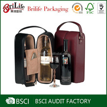 Professional China supplier cheap custom leather wine carrier
