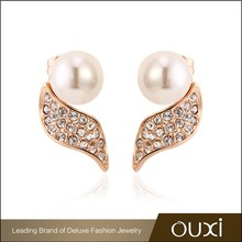 2015 Valentine's Day Fashionable Gold Ear Tops Designs with Pearl 20474