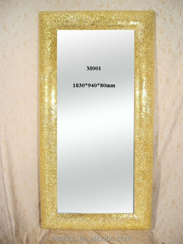 New Ornate Frame Floor Standing Mosaic Mirror In Fashion Gold Finish ...