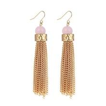 MS Jewelry Fashion Punk Rose Quartz Tassel Earring FE10016 Dangle Earring Alloy Unique Design