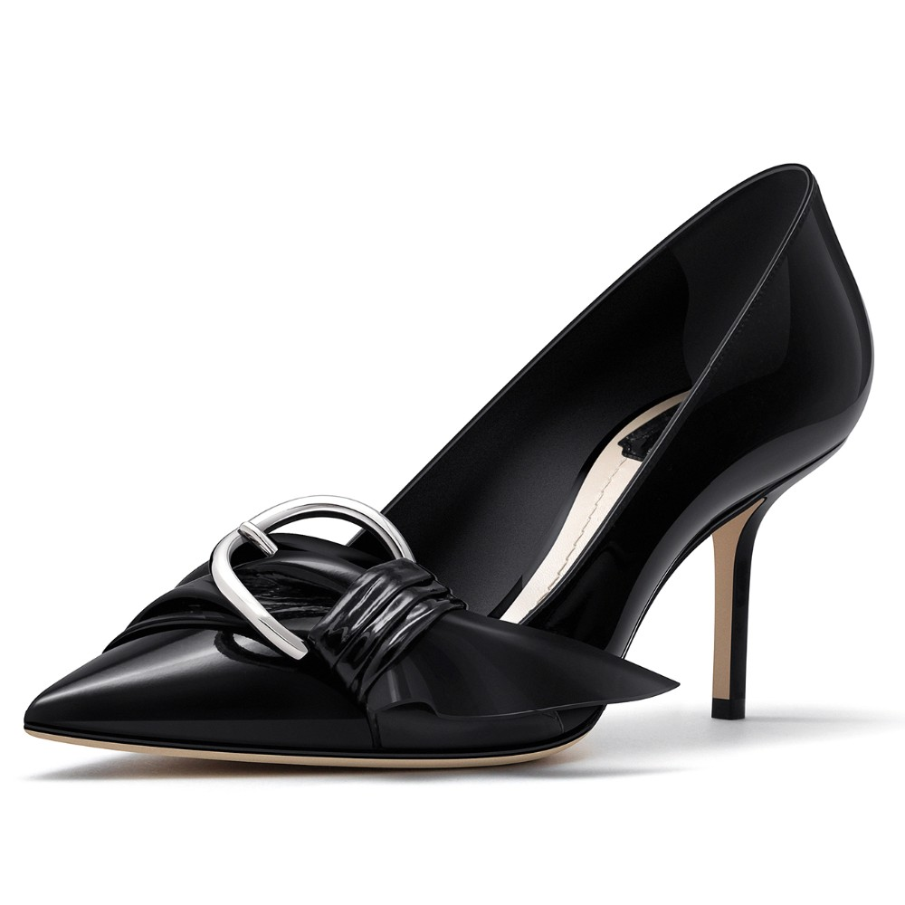 2016 latest design point with metal button high heel shoes women' pump shoe