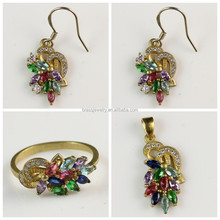 Colorful Zircon Paved Gold Plated Women'S Jewelry Set For Daily Wearing