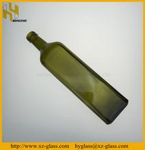 75CL Square dark green glass olive oil bottle