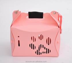 Pawhut Portable Folding Pet Dog Travel Carrying Tote Bag House Kennel - Pink
