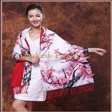 2015Digital Painting 100% Silk Scarf Wrap With Floral Patterns