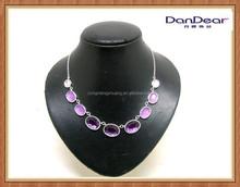 Wholesale Purple Latest Design Beads Necklace Sliver Chain Alloy Charm Necklace