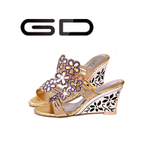 Gorgeous diamond decorated fantastic Rhinestone super fancy jewels High wedges