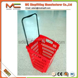 52L Plastic rolling plastic trolley basket with two wheels