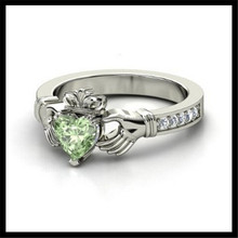 Stainless Steel Irish Claddagh Ring With Green Crystal