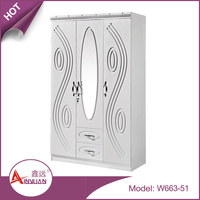New model bedroom wall clothes wooden almirah designs white mdf wood mirrored wardrobe in dubai