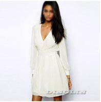 Сексуальные женские дамы женщин шифон низким v-образным вырезом спинки длинным рукавом чисто туника партии платье платье s-xl белый черный красный 1495
