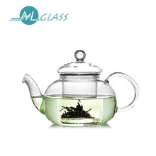 Wholesale pyrex glass teapot glass tea kettle with glass infuser strainer handmade 300ml