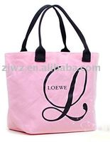 large PU leather handle cotton material shopping bag