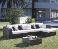 New Design All Weather Durable modern white outdoor furniture l shaped rattan sofa sets