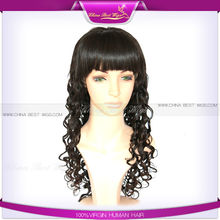 Pure virgin human hair without synthetic fibre full wigs with bangs