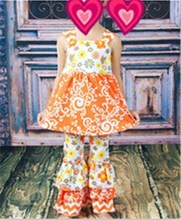 2015 HOT Toddler Infant Girl Bboutique Outfit Orange & chevron Damask Vintage Wholesale Clothing China Baby Garments Ruffle Sets