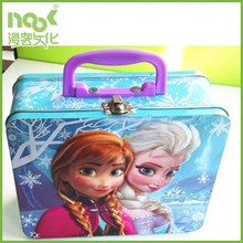 2015 Top kids birthday gift famous hot sale frozen tin lunch box with plastic handle