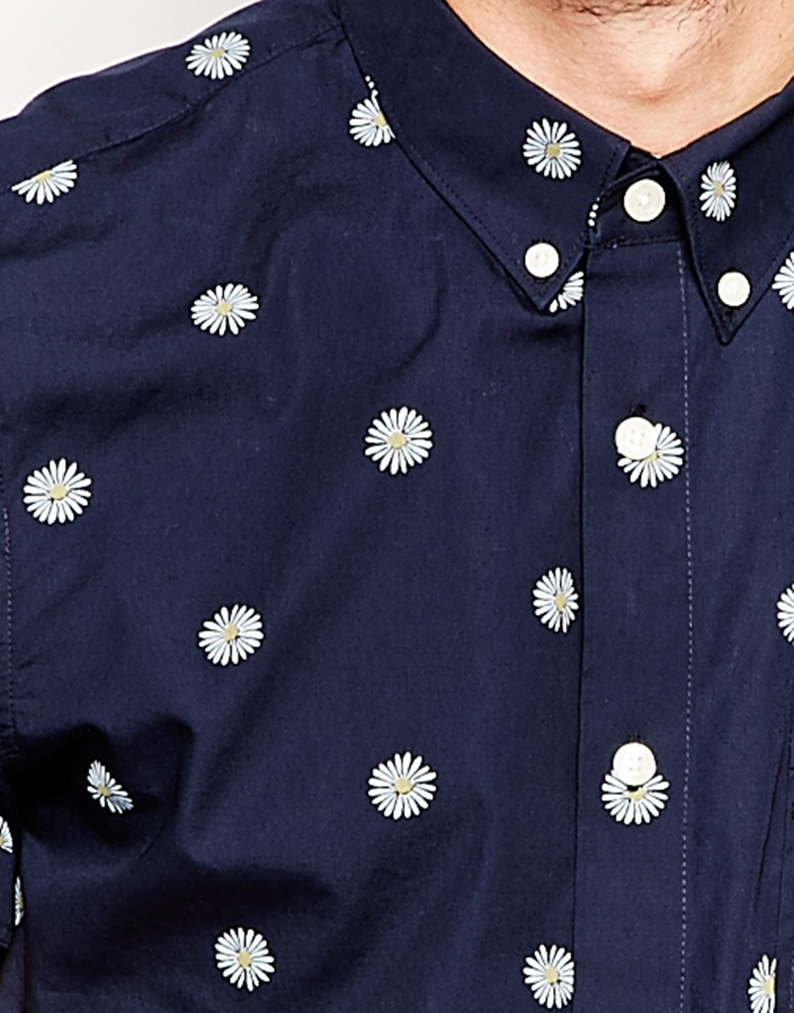 shirt with daisy print cotton fabric mens casual shirts