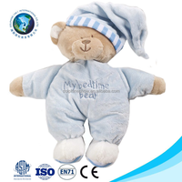 Promotional En71 Standard blue sleeping teddy bear baby plush toy cute fashion educational toys for kids